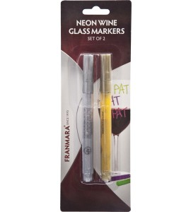 Neon Wine Glass Markers-Set of 2 (Gold & Silver)