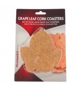 Cork Coasters, Grape Leaf shape, Set of 4