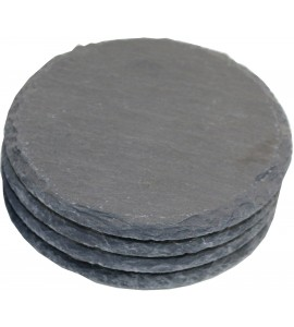 Round Slate Coasters, Natural, Set of 4 in Kraft Box