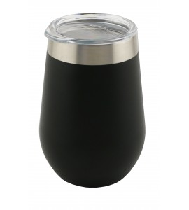 Triple-Wall Stemless Wine Glass, S/S, 12 oz. Black Textured With Tritan® Plastic Drinking Lid