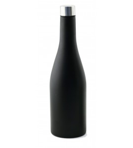 Apollo™ 750 ml Wine Bottle, Chardonnay shape, Tri-Wall Black Textured S/S