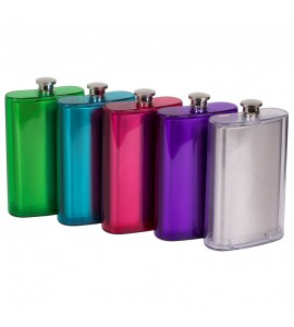 Double Wall Stainless Steel Pocket Flask, Translucent Plastic Casing, 5 oz.