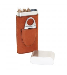 Cigar Case with Cigar Cutter, Stainless Steel