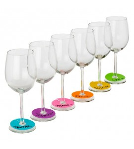 Neon Party Wine Glass Paper Tags