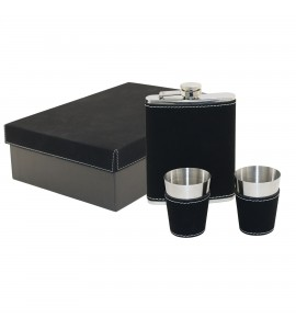 Suave™ Leatherette Captive-Top Flask Set 8 oz. with Two Jigger Cups