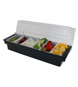 """Caterer's Condiment Holders, Strong Plastic Frame, Six 1-Pint Compartments, 19-1/2"""" Long"""