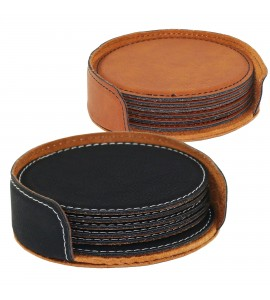 Suave Round Coaster Set (6) w/Holder Leatherette Black (01) or Rawhide (30)