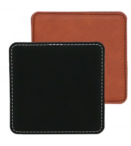 Suave Square Coaster Leatherette- Black (01) or Rawhide (30)