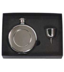 Round Pocket Flask Set, 4.5 oz. Stainless Steel