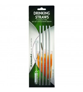 Straight Stainless Steel Drinking Straws, Set of 4 Plus Cleaning Brush (on blister card)