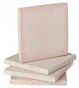 Sandstone Square Coasters, Natural Beige, Set of 4