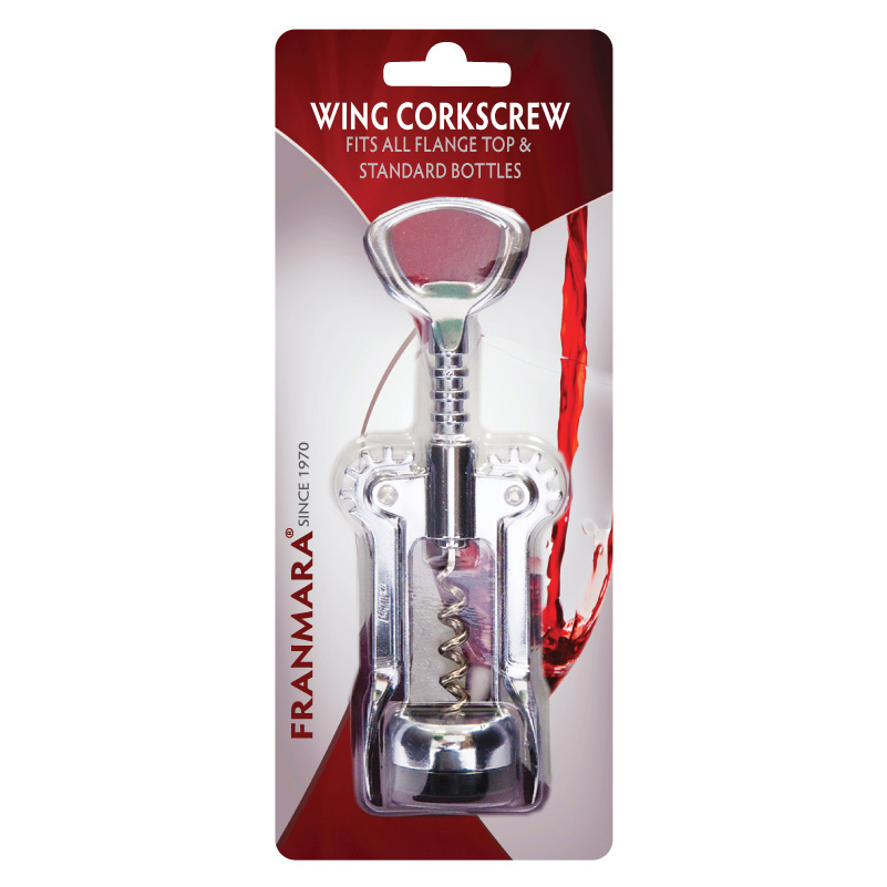 Wing Corkscrew, Open Spiral Worm, Chrome Plated