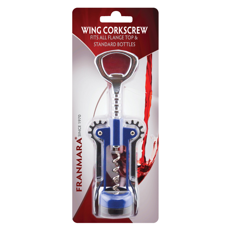 Wing Corkscrew, Open Spiral Worm, Chrome Plated/Enameled Body