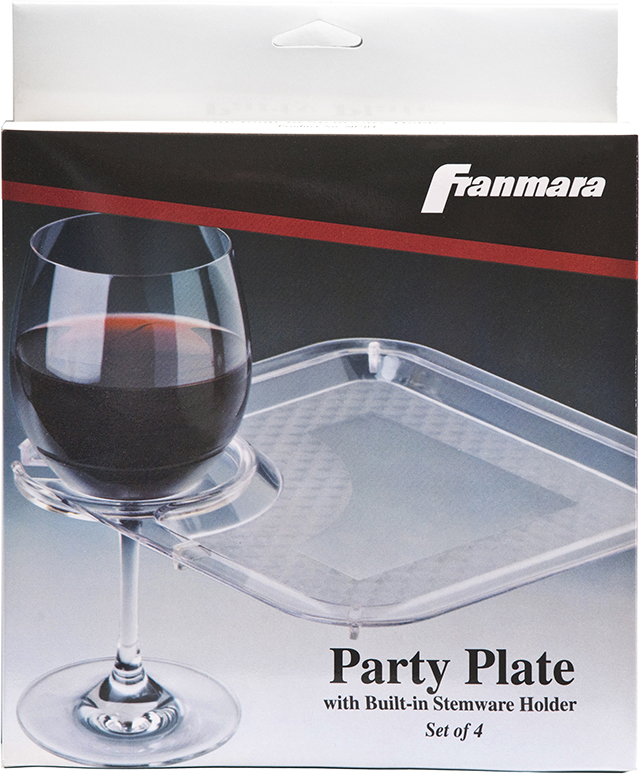 Party Plate With Built-In Stemware