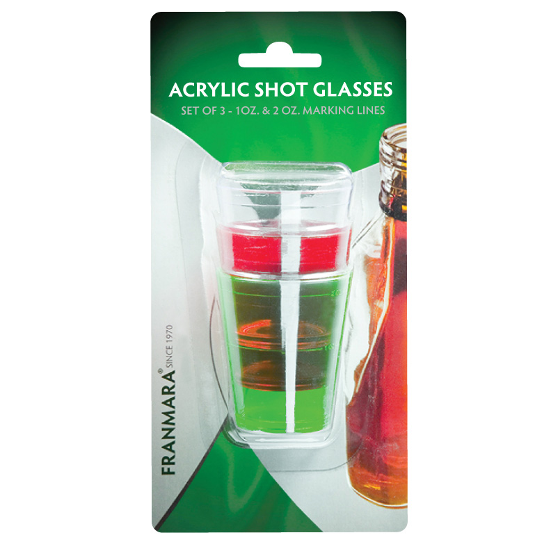 Acrylic Shot Glasses, Three (8038) on a Card