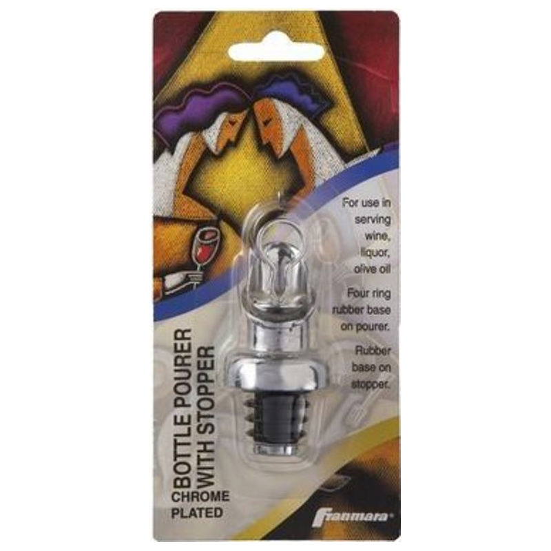 Bottle Pourer with Stopper, Chrome Plated